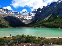 Laguna Esmeralda and snowy mountains in Tierra del Fuego, Argentina. Beautiful breathtaking view of the snowy mountains and the ice lagoon of Esmeralda with royalty free stock images
