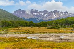 Laguna Esmeralda trail with forest and mountains. Ushuaia, Patagonia, Argentina stock images