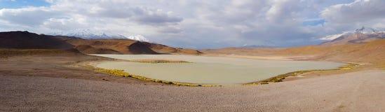 Laguna Honda i ökenlandskapet av den Andean platån av Bolivia royaltyfri fotografi