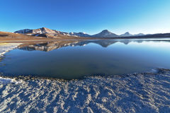 Laguna Lejía and mountains. Laguna Lejía with mountains in the background. This lagoon is located in the Atacama desert near Lascar volcano in Chile stock photos