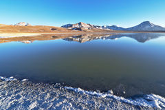 Laguna Lejía and mountains. Laguna Lejía with mountains in the background. This lagoon is located in the Atacama desert near Lascar volcano in Chile stock images