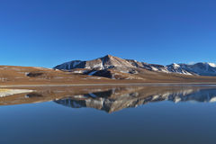 Laguna Lejía and mountains. Laguna Lejía with mountains in the background. This lagoon is located in the Atacama desert near Lascar volcano in Chile royalty free stock photography
