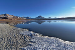 Laguna Lejía and mountains. Laguna Lejía with mountains in the background. This lagoon is located in the Atacama desert near Lascar volcano in Chile stock photo