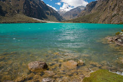 Laguna Llanganuco. And snow-peaked Yanaphaqcha stock photos