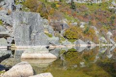 Laguna Negra lake in Soria, Spain. Laguna Negra, glacial lake in Soria, Spain Stock Photo