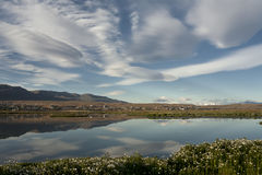 Laguna Nimez. The sky in Patagonia. South America, Argentina, El Calafate, Laguna Nimez stock photography