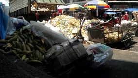 Garbage dump are collected in the city market site. Laguna, Philippines - August  21, 2015: Garbage dump are collected in the city market site, a measure to stock video