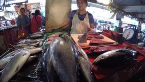 Asian woman sells various fish at stall wet market. Laguna, Philippines - February 29, 2016: Asian woman sells various fish catch at stall wet market stock footage