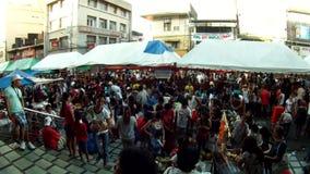 People crowd in flea market