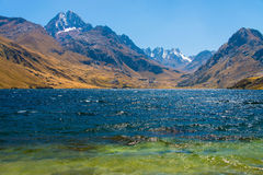 Laguna Querococha. With snow-capped Pukarahu and Yanamaray stock images