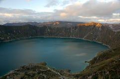 Laguna Quilotoa in Ecuador. Sunset on Laguna Quilotoa in Andes,Ecuador Royalty Free Stock Photos