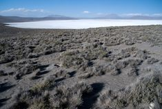 Laguna Salinas Blanca. And volcano Ubinas at the Altiplano in South Peru Stock Photo