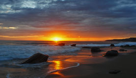 Laguna solnedgång royaltyfria foton
