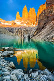 Laguna torres with the towers at sunset, Torres del Paine National Park, Patagonia, Chile. Torres del Paine National Park, Patagonia, Chile Stock Images