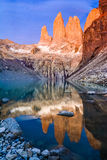 Laguna torres with the towers at sunset, Torres del Paine National Park, Patagonia, Chile royalty free stock photo