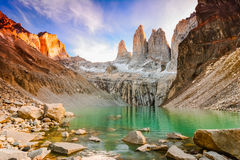 Laguna torres with the towers at sunset, Torres del Paine National Park, Patagonia, Chile royalty free stock image