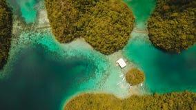 Laguna tropical de la visión aérea, mar, playa Isla tropical Siargao, Filipinas almacen de metraje de vídeo