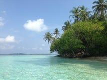 Laguna tropicale nell'isola dell'Oceano Indiano, Maldive Fotografie Stock