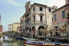 Laguna veneziana della città di Chioggia fotografia stock libera da diritti