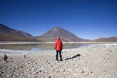 Laguna Verde λίμνη και ηφαίστειο Licancabur στη Βολιβία Στοκ Εικόνες