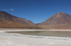 Laguna Verde on the Altiplano royalty free stock images