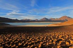 Laguna verde, grön lagun i Bolivia Royaltyfri Fotografi