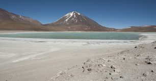 Laguna Verde is a highly concentrated salt lake located in the Eduardo Avaroa Andean Fauna National Park. At the foot of the Licancabur volcano, Sur Lipez Royalty Free Stock Photography