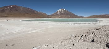 Laguna Verde is a highly concentrated salt lake located in the Eduardo Avaroa Andean Fauna National Park. At the foot of the Licancabur volcano, Sur Lipez Stock Image