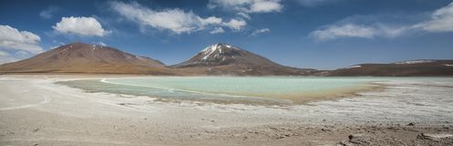 Laguna Verde is a highly concentrated salt lake located at the foot of the Licancabur volcano. Laguna Verde is a highly concentrated salt lake located in the Stock Image