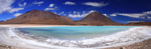 Laguna Verde & Licancabur Volcano Panorama. A panoramic photo of the stunning  Laguna Verde and the Licancabur volcano. The Laguna verde (green lake) is a salt Stock Image