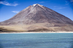 Laguna Verde and Volcano Licancabur, Salar de Uyuni , Bolivia royalty free stock photo