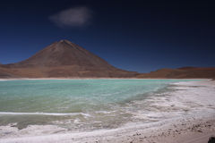 Laguna Verde shore and Licancabur Stock Photos
