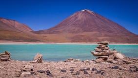 Laguna Verde Uyuni Bolivia. The green lagoon Laguna Verde is a popular attraction in Bolivia`s Eduardo Avaroa Andean Fauna National Reserve near Uyuni Stock Photography
