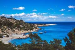 Laguna w Cypr Ayia Napa, przylądka Greco półwysep, lasu państwowego park zdjęcie royalty free