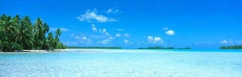 Laguna y cocos, Polinesia Imagen de archivo libre de regalías