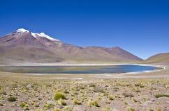 Laguna y montaña de Miniques en el desierto de Atacama Imágenes de archivo libres de regalías