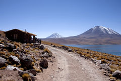 Lagunas. Miscanti and Meniques in Atacama desert near Andes Royalty Free Stock Images