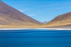 Lagunas Altiplanicas, Panoramablick, Miscanti y Miniques Lizenzfreie Stockfotos