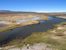 Lagunas blu al passaggio di Patapampa (Perù) Immagini Stock Libere da Diritti