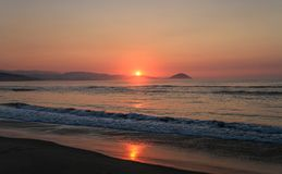 Sunrise on the beautiful coast of the Chacahua National Park, Oaxaca, Mexico stock image