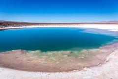 Lagunas Escondidas, een uniek te zien landschap, a moet voor reizigers die San Pedro de Atacama bezoeken stock foto