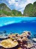 Lagune avec la vue sous-marine de récif coralien Images libres de droits