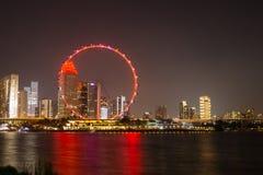 Lagune bij van de de Vliegernacht van Singapore het lichte Reuzewiel stock afbeeldingen