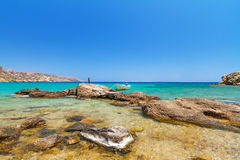 Lagune bleue de plage de Vai sur Crète Photographie stock libre de droits