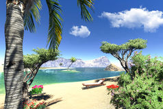Lagune de paradis avec le salon illustration stock