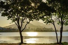 Lagune de Rodrigo de Freitas à l'été Photos stock