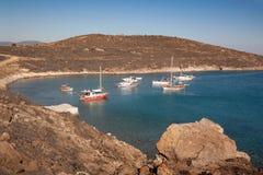 Lagune et bateaux bleus Vue de ci-dessus sur la mer Images stock