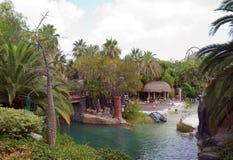 Lagune in Franse Polynesia. Stock Foto's
