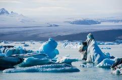 Lagune glaciaire de glace de rivière chez Jokulsarlon Islande Image libre de droits
