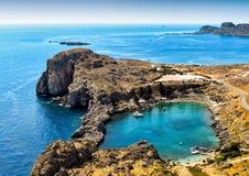 Lagune in Lindos, Rhodes Island Royalty-vrije Stock Foto